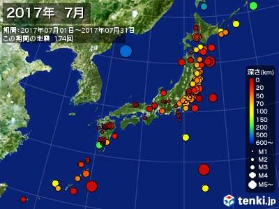 2017年07月の震央分布図