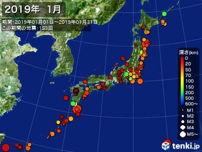 2019年01月の震央分布図