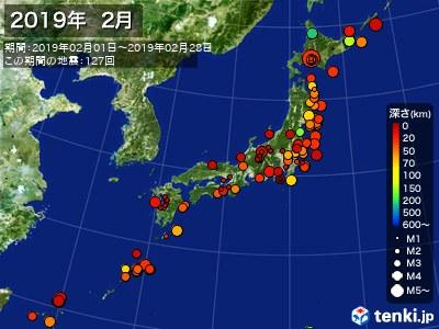 2019年02月の震央分布図