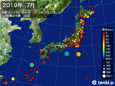 2019年07月の震央分布図