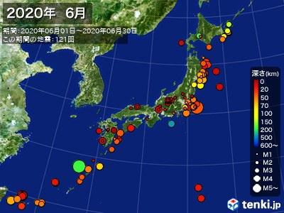2020年06月の震央分布図