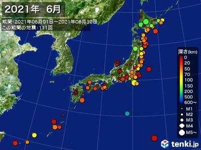 2021年06月の震央分布図