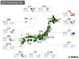 実況天気(2013年02月07日)