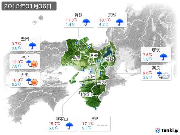 近畿地方(2015年01月06日の天気