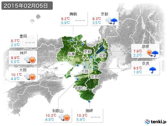 近畿地方(2015年02月05日の天気