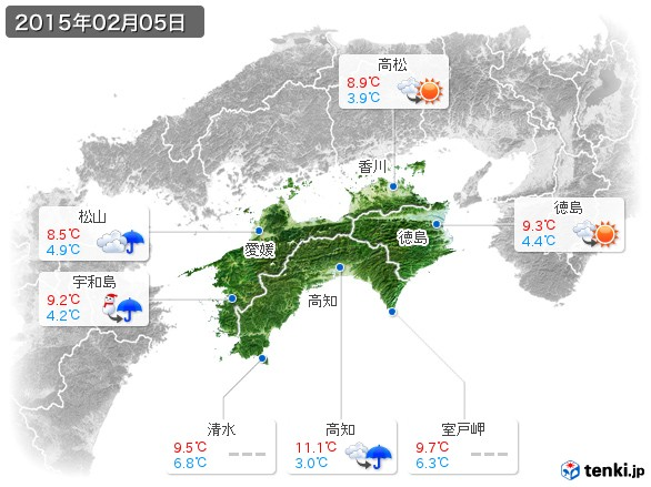 四国地方(2015年02月05日の天気