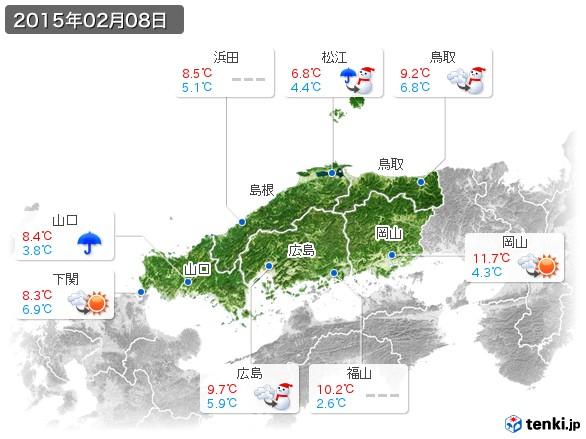 中国地方(2015年02月08日の天気