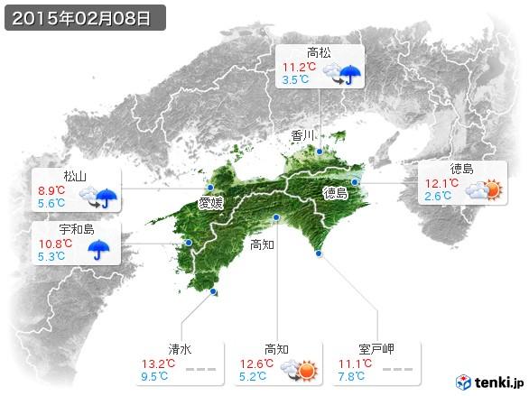 四国地方(2015年02月08日の天気