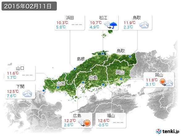中国地方(2015年02月11日の天気