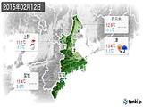2015年02月12日の三重県の実況天気