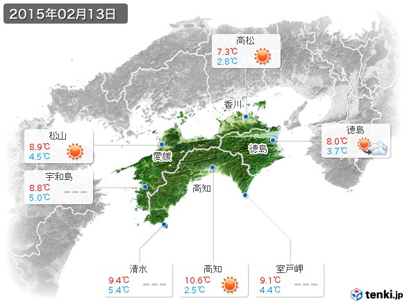 四国地方(2015年02月13日の天気