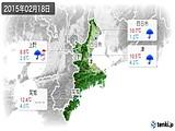 2015年02月18日の三重県の実況天気