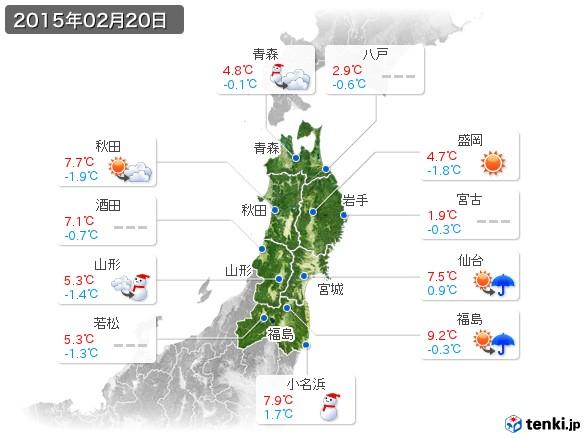 東北地方(2015年02月20日の天気