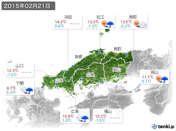 中国地方(2015年02月21日の天気