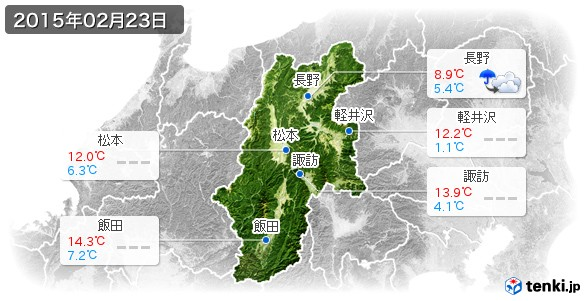 長野県(2015年02月23日の天気