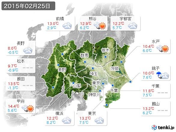 関東・甲信地方(2015年02月25日の天気