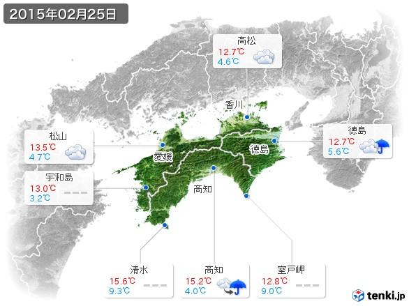 四国地方(2015年02月25日の天気
