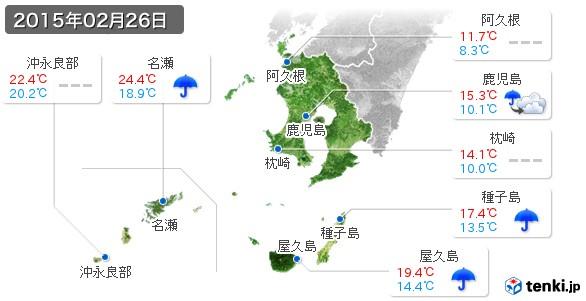 鹿児島県(2015年02月26日の天気