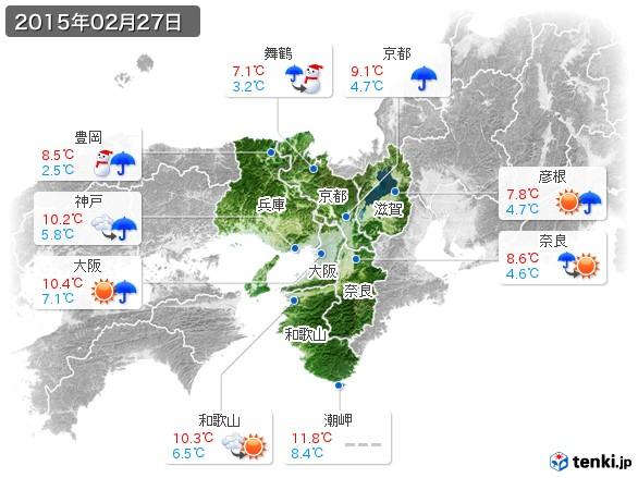 近畿地方(2015年02月27日の天気
