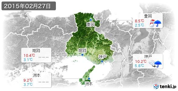 兵庫県(2015年02月27日の天気