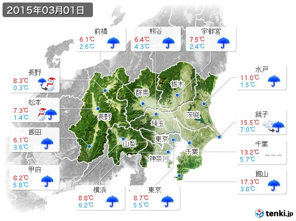 関東・甲信地方(2015年03月01日の天気