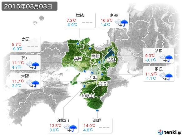 近畿地方(2015年03月03日の天気