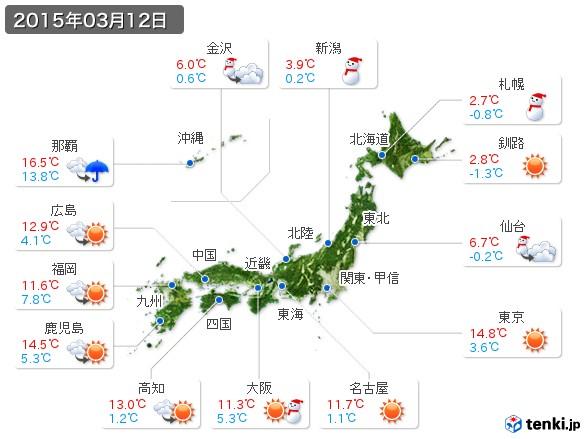 (2015年03月12日の天気