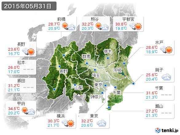 関東・甲信地方(2015年05月31日の天気