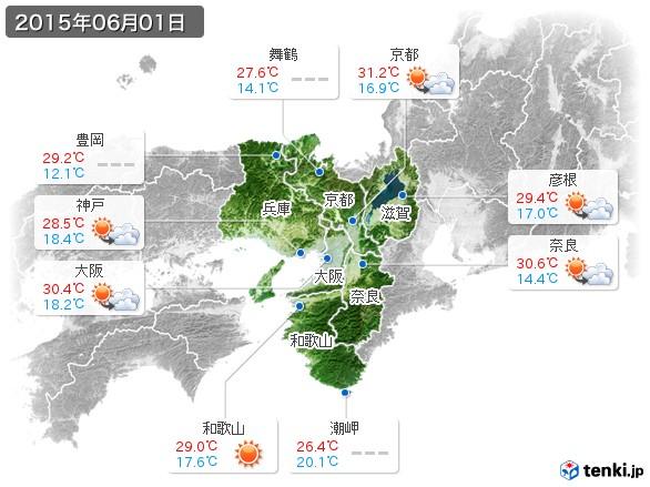 近畿地方(2015年06月01日の天気