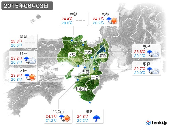 近畿地方(2015年06月03日の天気