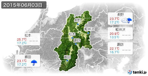 長野県(2015年06月03日の天気