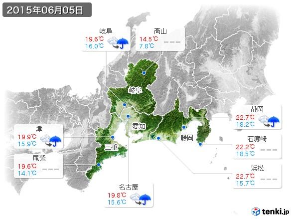 東海地方(2015年06月05日の天気