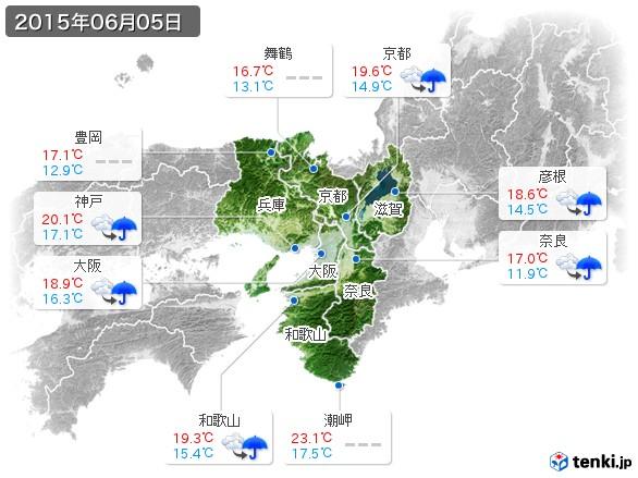 近畿地方(2015年06月05日の天気