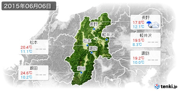 長野県(2015年06月06日の天気