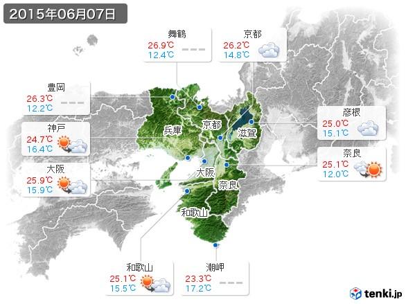 近畿地方(2015年06月07日の天気