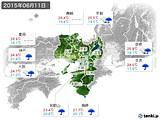 2015年06月11日の近畿地方の実況天気