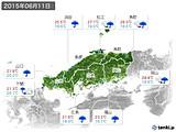 2015年06月11日の中国地方の実況天気