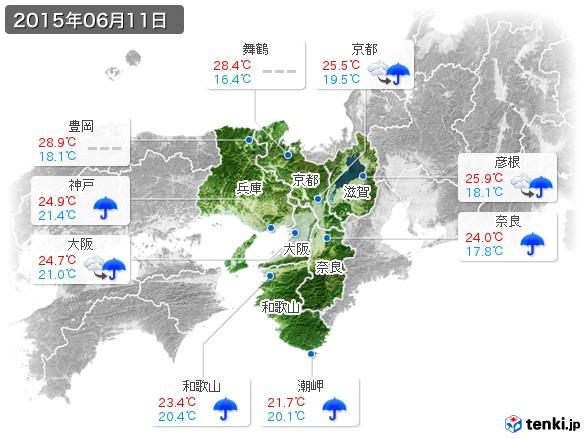 近畿地方(2015年06月11日の天気