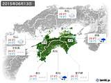 2015年06月13日の四国地方の実況天気