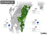 2015年06月13日の宮崎県の実況天気