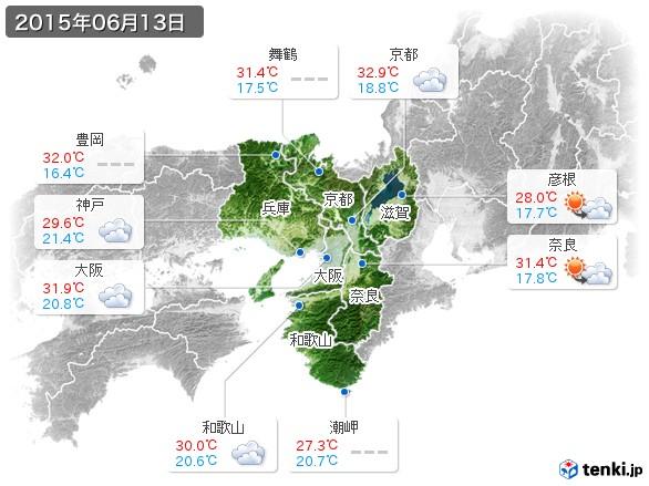 近畿地方(2015年06月13日の天気