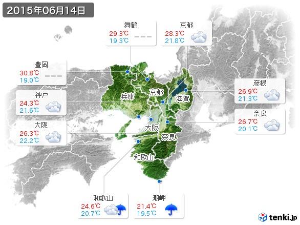 近畿地方(2015年06月14日の天気