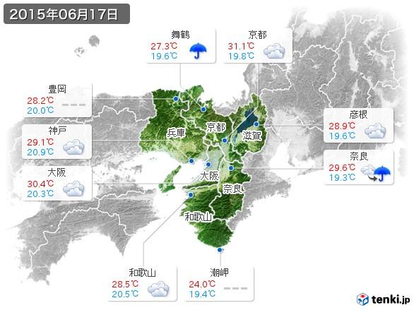 近畿地方(2015年06月17日の天気