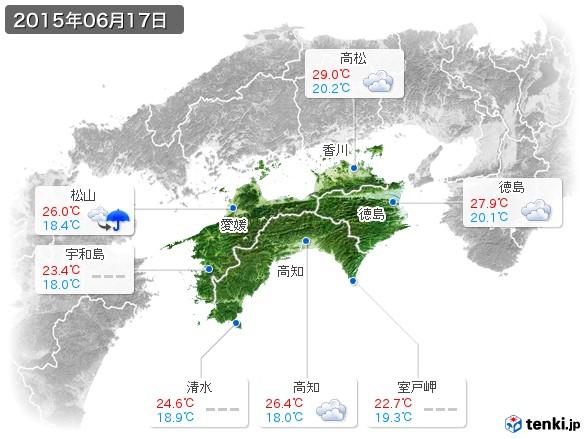四国地方(2015年06月17日の天気