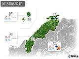 2015年06月21日の島根県の実況天気