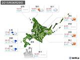 2015年06月29日の北海道地方の実況天気