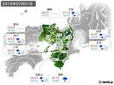 2015年07月01日の近畿地方の実況天気