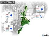 2015年07月01日の三重県の実況天気