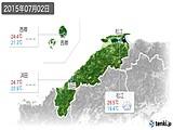 2015年07月02日の島根県の実況天気