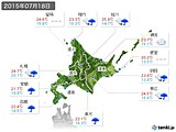 2015年07月18日の北海道地方の実況天気
